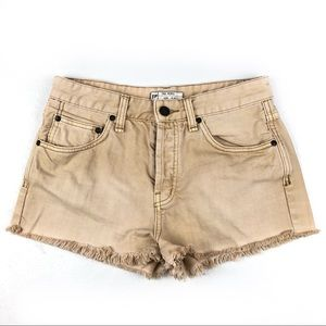FREE PEOPLE cut off jean shorts 27 tan brown  b215